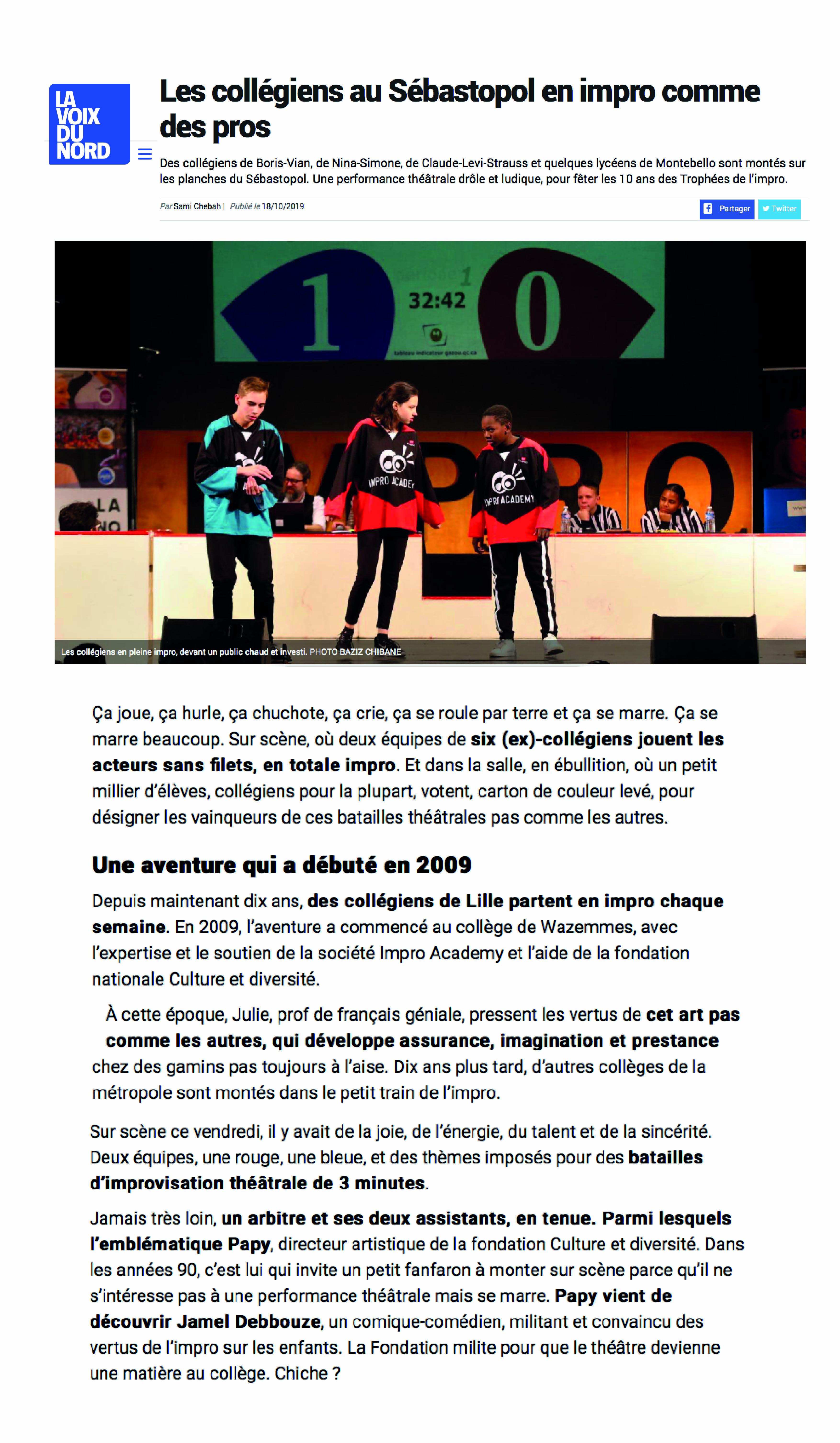 10 ans du Trophée d'Impro au Théâtre Sébastopol - Lille